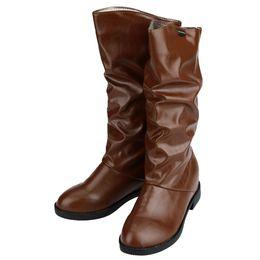 Botas de cuña mujeres morenas en venta-Zapatos Promoción de Invierno Mujer Botas punta redonda Oculto del talón de cuña media pantorrilla PU botas de cuero Negro / Marrón