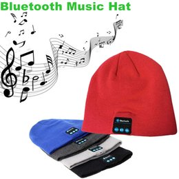 Wholesale Bluetooth Music Hat Soft Warm Beanie Stereo Headset Speaker Wireless Hands Free Earphone Skull Caps For iPhone s Note5 iPad Mini Pro Tablet