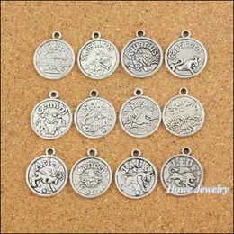 96 pcs Vintage Charms Zodiac Pendant Antique silver Fit Bracelets Necklace DIY Metal Jewelry Making