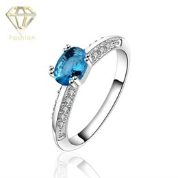 Wholesale Aquamarine Engagement Rings High Quality Silver Plated with Blue Stones Rings Trendy Jewellery for Women Wedding Party