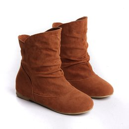 Wholesale Armoire Hot Sales Black Yellow Red Brown Gray Flats Women Slouch Ankle Boots Solid Ladies Winter Nude Shoes AA Nubuck