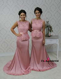 Lace Party Gowns Mermaid Bridesmaid Dresses Formal Maid of Honor 2017 Sliver Grey Pink Peach Maid of Honor Gowns BA3037