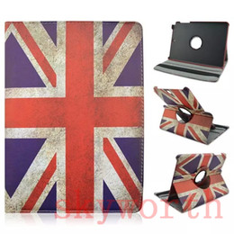 Wholesale Retro UK US Flag Rotating Leather Case Cover for Samsung Galaxy Tab A T350 T550