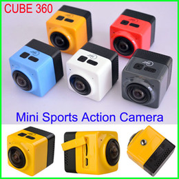 Wholesale CUBE Mini Sports Action Camera degree Panoramic VR Camera Build in WiFi Camera H Video Mini Camcorder with GVT100M DSP