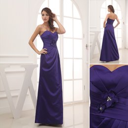 Wholesale Variety Of New Styles Sweetheart Tiered Satin Empire Dark Blue Long Bridesmaid Dresses Hot collection Online Provider With High Quality