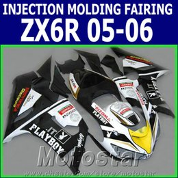 Wholesale 100 Injection molding fairing kit for Kawasaki ZX6R ZX636 black white PLAYBOY motorcycle fairings Ninja ZX R GH27