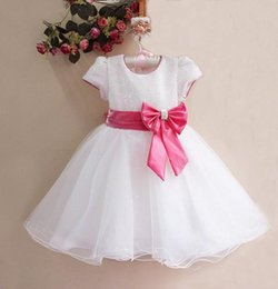 Hot Sale White Formal dress for Girls Kids Party Dress With Pink Bow Elegant Top Qulity Princess Clothing GD11116-01W