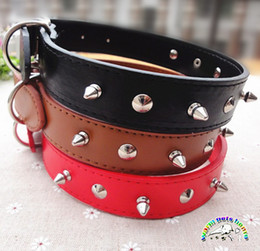 Goods For Pets 3cm Width black red yellow Leather Dog Collar Spiked Collars For Pitbulls Large Dogs Wholesale