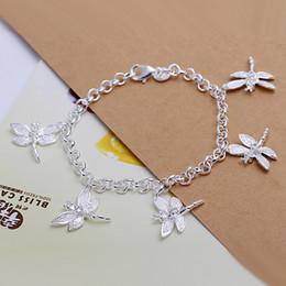 Hot sale best gift 925 silver Five Dragonfly Bracelet DFMCH092,brand new fashion 925 sterling silver Chain link bracelets