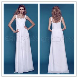 Wholesale Airy Empire Sweetheart Straps Sleeveless Zipper Chiffon Beach Wedding Dress WH1619