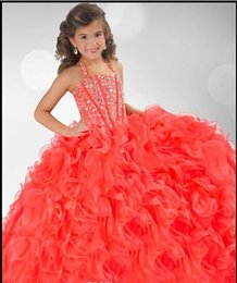 Robe Custom Robes Sparkly Flower Girl Robes Pagent Grils Halter robe de bal en organza de 2015 Coral Fille perles de cristal Little Girl fait supplier beaded pagent dresses à partir de robes de pagent perles fournisseurs