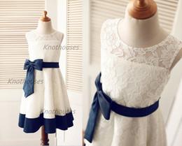 Wholesale Ivory lace Navy Blue Satin Stripe Flower Girl dress Junior Bridesmaid Dress Kids Children Big Bow Wedding Party dress