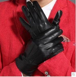Wholesale-Male autumn and winter sheepskin gloves suede male short design thermal genuine leather gloves