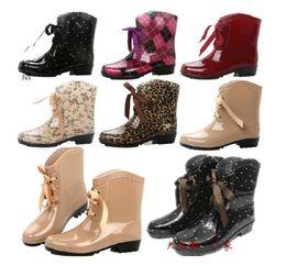 Wholesale HOT RUBBER women mid calf rain boots martin water waterproof shoes thermal socks