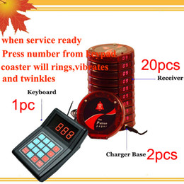 1 keyad and 20 pagers+2 chargers Waterproof Restaurant Bar Pager Slef-service Coaster Pager Wireless Restaurant Paging System