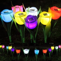 Wholesale Solar Flower Yard - Outdoor Yard Garden Path Flower Tulip Lamp Solar Power LED Lights Landscape Wholesale