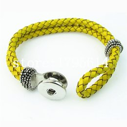 Wholesale-Free shipping ! 5pcs  lot yellow leather Snaps Button Bracelet white leather bracelet 18mm Ginger Snaps jewelry