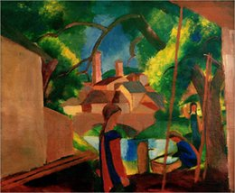 Wholesale Abstract Art Modern Childrens by the Fountain with Town in the Background by August Macke oil painting Canvas High quality Hand painted