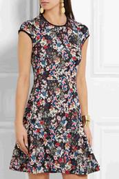 Fashion Floral Flower Print A-Line Dress Round Neck Work Dresses 036131