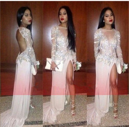 Wholesale 2015 Sheer Prom Dresses Scoop Mermaid Long Sleeve Chiffon Appliques Crystal Beads Glitter Open Back Sexy High Split Formal Evening Gowns