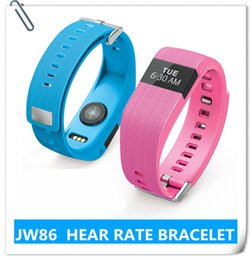Wholesale Freeshipping JW86 bluetooth wireless smartband track pulse Color heart rate sport smart bracelet Fitness Track nd upgrade TW64