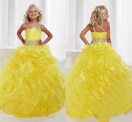 Robes de pagent perles en Ligne-2015 Pagent robes Grils une épaule jaune organza robe boule plissé cristal coloré écharpes perlé princesse robes robes formelles pour fille