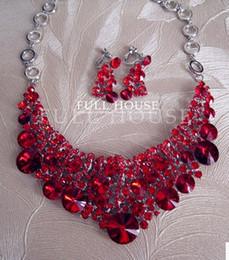 red crystal flwoer wedding bride necklace earings set (hb3308) ewerw