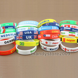 Wholesale 10PCS USA UK Mexico Kuwait South Africa National Flag Print Silicone Bracelet Wrist Straps Personality Silicone Wristband Bangles