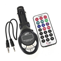 Wholesale USB SD MMC Car MP3 Player V car mp3 Car FM Transmitter with Remote Control with Screen Flash WMA Wireless Modulator