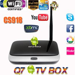Wholesale New Android TV Box Q7 CS918 Full HD P RK3188T Quad Core Media Player GB GB XBMC Wifi Antenna with Remote Control