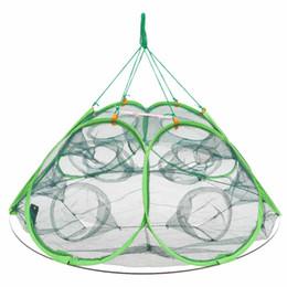 Wholesale Foldable Minnows Shrimp Crawfish Net Holes Automatic Open Shrimp Lobster Fishing Bait Trap Cast Net Cage x85x40cm Y2267