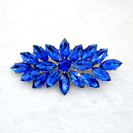 Vintage Rhodium Silver Plated Royal Blue Glass Marquise Crystal Diamante Brooch Prom Party Pin Gifts Free Shipping