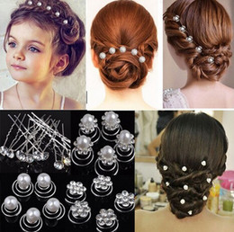 Wholesale 48pcs New Rose Flower Wedding Bridal Pearl Crystal Swirl Twist Hair Spin Pins Women Chic Hair Jewelry Accessories Free Ship