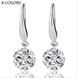 Wholesale Real Solid Sterling Silver Wedding Engagement Earring Ct Princess Cut Created Diamond Jewelry