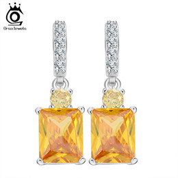 ORSA Big Emerald Cut Yellow Zircon Earring on Platinum Plated Beautiful Dangle Earring for Women Anniversary Gift OE126