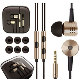 Wholesale Metal Xiaomi Earphones Stereo mm Jack Bass In Ear noise isolating Headphones MP3 MP4 and Android Mobile Phone MIC Headsets with logo