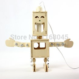 Wholesale DIY assembly sided robot decorative light table lamp decorated wooden lamp with Storage Box Novelty Gifts