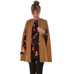 Wholesale Camel Poncho Coat - Wholesale-New Women Batwing Loose Cloak Cape, Wool Woolen Coat Poncho Warm Jacket Outerwear Manteau Femme Abrigos Abrigo Mujer Camel Black