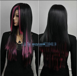 Charm Lolita Long pink Black Mixed Straight Anime Cosplay Wigs