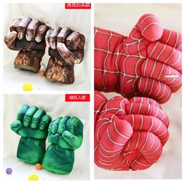 Boîte d'araignée jouet en Ligne-Cartoon vert jouets en peluche Spider-man The Hulk boxe pp coton gants en tissu cosplay jouets Peluches Peluches animaux Livraison gratuite
