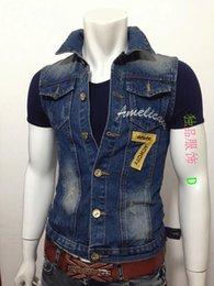 Wholesale Fall Manufacturers supply2015 new fashion men s denim vest casual fit jean denim Cardigan label tops men patchwork