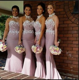 2015 vintage high neck mermaid lace bridesmaid dresses sheer neck lace appliques floor length backless satin spring wedding party dresses