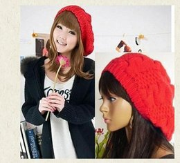 Wholesale-Winter Women Girls Casual Baggy Beret Braided Beanie Wool Crochet Beanies Casquette Boina Feminina Ski Cap Hat for Women