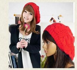 Wholesale-Winter Women Girls Casual Baggy Beret Braided Beanie Wool Crochet Beanies Casquette Boina Feminina Ski Cap Hat for Women