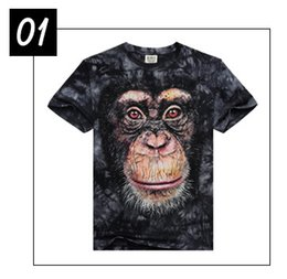 Wholesale Novelty Style Animal Stereoscopic Image Brand Design D Men s T shirts Cotton Printing Monkey T shirt for Men new1001