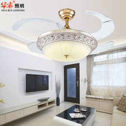 Wholesale contract vintage antique luxury stealth ceiling fan Chandelier antique plafond ikea dining room restaurant living room ventilator