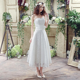 Romantic Tea Length Lace Beach Wedding Dresses Cheap 2016 Sweetheart With Ribbon Sash A Line Real Sample In Stock Bridal Gowns Under 100