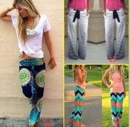 Wholesale 2016 Hot Women Boho Ethnic Pants Bohemian Floral Print Wid Leg Loose Pants Striped Trousers Waves Silky Bottoms F107