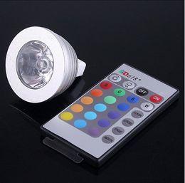 3W 4W 12V MR16 GU5.3 socket RGB LED Light spot bulb 16 Color change +24key IR Remote Controller memory effect Freeshipping