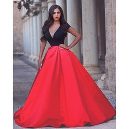 Red and Black Evening Dresses Sexy V neck Capped Sleeve Party Gowns 2016Prom Dress Floor Length Arabic Vestido De Fiesta